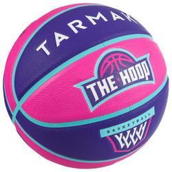 Balón de baloncesto júnior Wizzy blason rosa violeta talla 5.