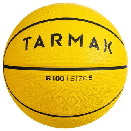 R100 Bola Basket Ukuran 5 dan 7 - Kuning Sempurna untuk pemula. Tahan lama