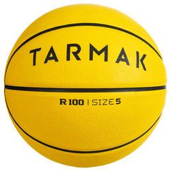 Basketbal R100 maat 5 en 7 geel. Perfect om te starten. Duurzaam