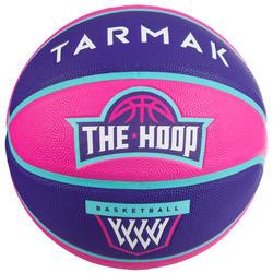 Basketbal voor kinderen Wizzy maat 5 embleem roze paars.