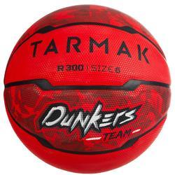 Basketbal R300 maat 6 rood voor meisjes, jongens en dames die beginnen spelen