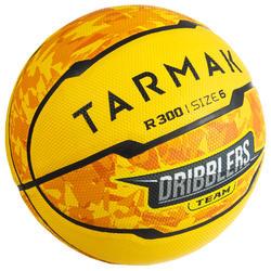 Ballon de basket R300 jaune, taille 6 pour débutants garçons/filles/dames
