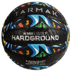 Basketbal voor volwassenen R500 maat 7 graffiti - kan niet stuk, goede grip.