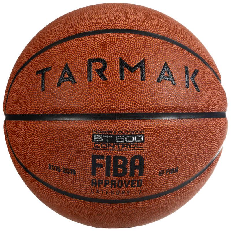 BASKETBALOVÁ LOPTA BT500 VEĽKOSŤ 7 FIBA HNEDÁ TARMAK