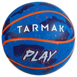 Balón de baloncesto K500 Play azul naranja para niños en iniciación.