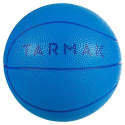 Basketbal K100 blauw Minibal in schuim, maat 1, voor kinderen tot 4 jaar.