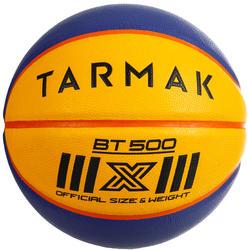 Balón Baloncesto Tarmak BT500 De 3x3 Talla 6 con peso de talla 7 Azul Amarillo