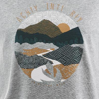חולצת טי לגברים דגם NH500 לטיולים - אפור מנומר
