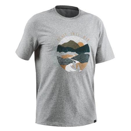 Чоловіча футболка NH500 для туризму - Сіра