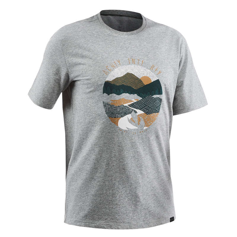 MEN NATURE HIKING SHORTS/T-SHIRTS Hiking - T-shirt NH500 - Heathered grey QUECHUA - Hiking Clothes