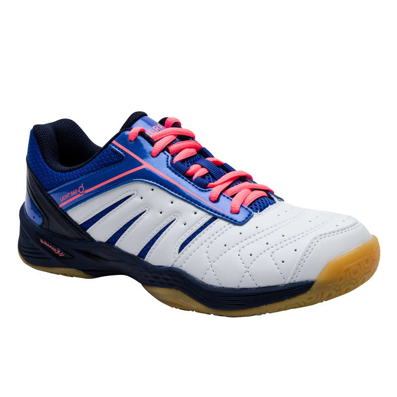 WOMEN'S INTERMEDIATE BADMINTON SHOES Table Tennis - BS 560 Women Lite Indoor Court Shoes - WHITE BLUE  PERFLY - Table Tennis