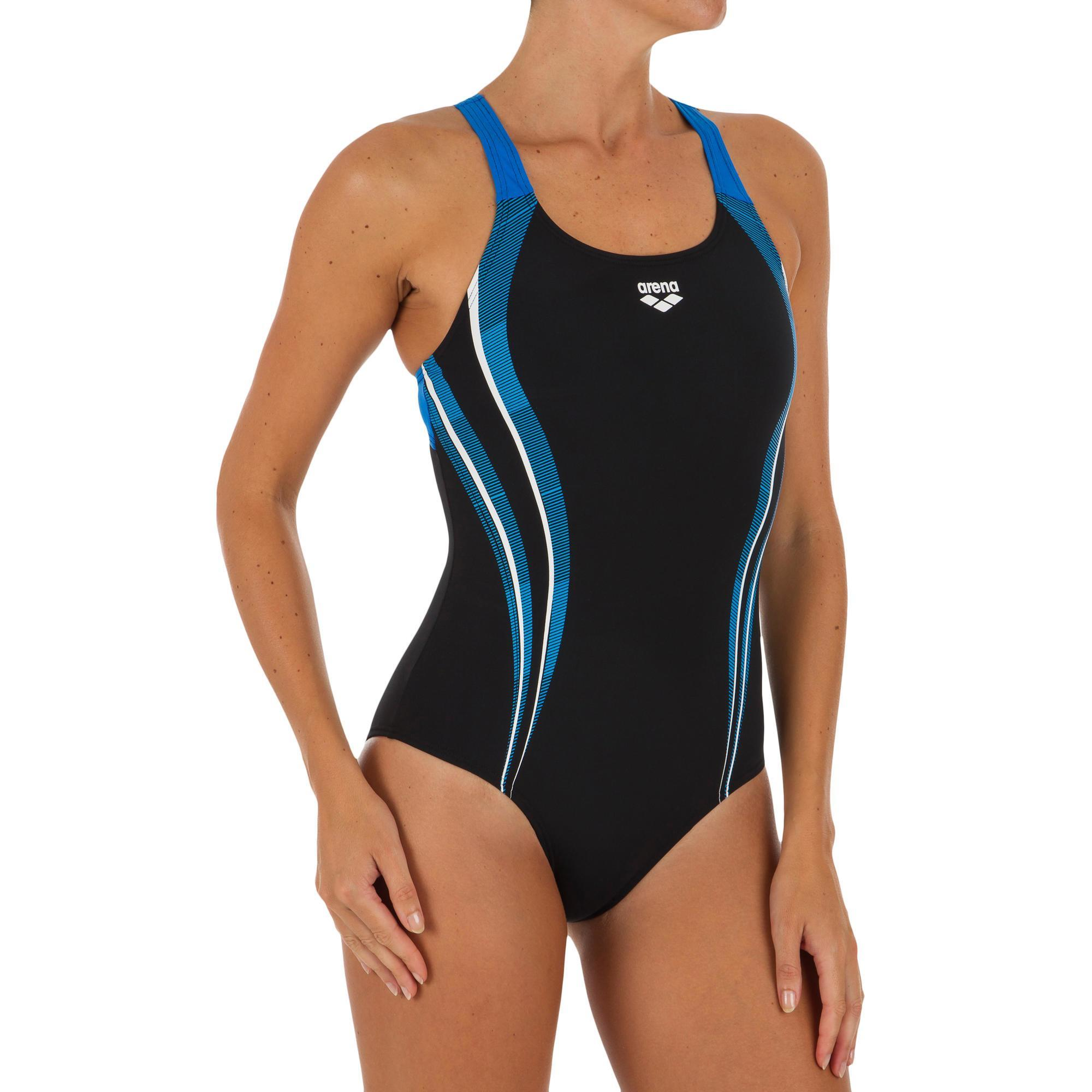 4fcdb5c93 Bañador Natación Piscina Arena Spaced Mujer Espalda O Tirantes Anchos Negro  Azul Arena