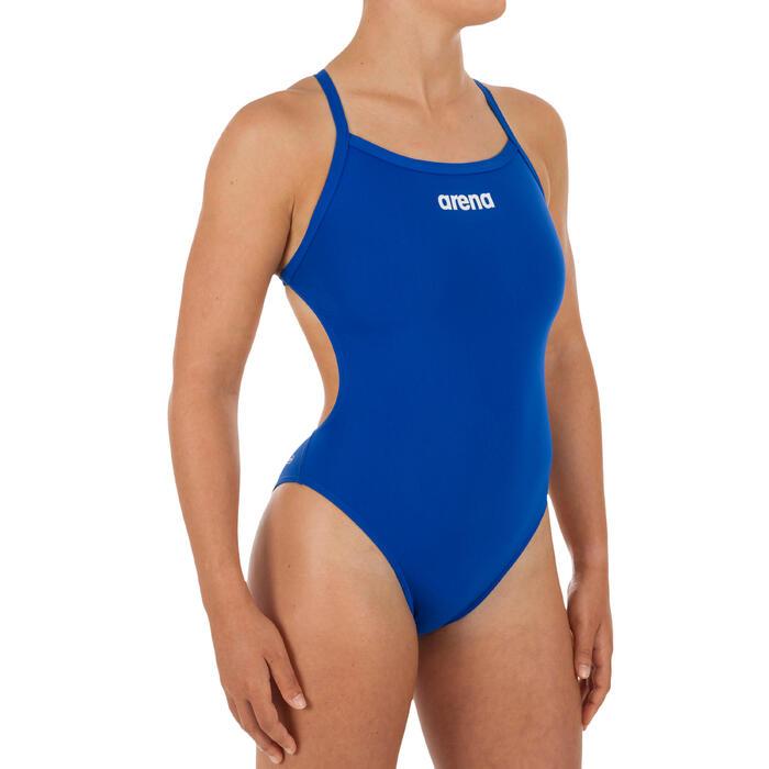 Sportbadpak voor zwemmen dames Solid Light Tech blauw