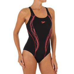 Bañador de natación 1 pieza mujer Muscle back negro rojo