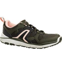 Zapatillas de marcha deportiva para mujer HW 500 malla caqui