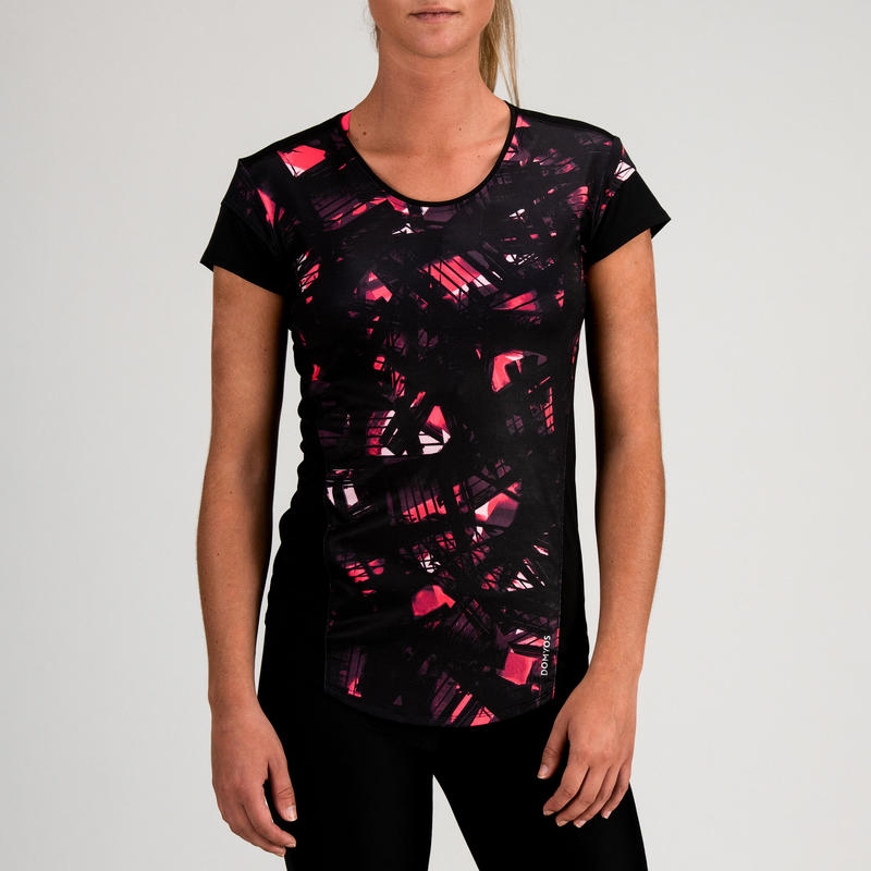 5e9e3fc5f 500 Women's Cardio Fitness T-Shirt - Black Print