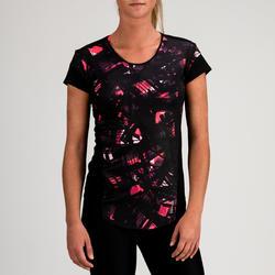500 Women's Cardio Fitness T-Shirt - Black Print
