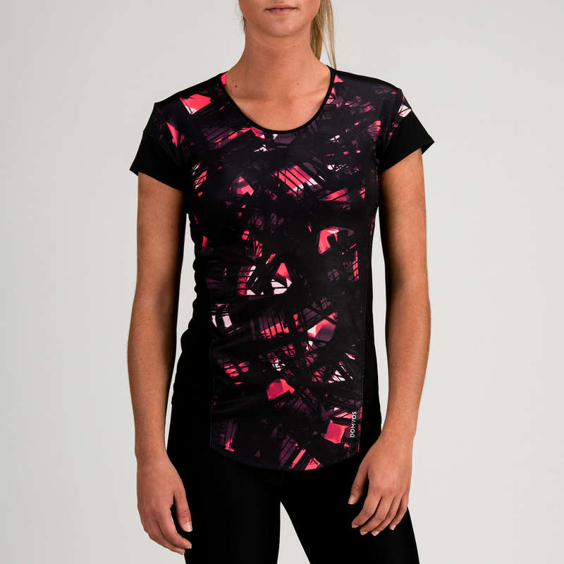 FITNESS CARDIO CONFIRMED WOMAN CLOTHING - FTS 500 T-Shirt - Black Print DOMYOS