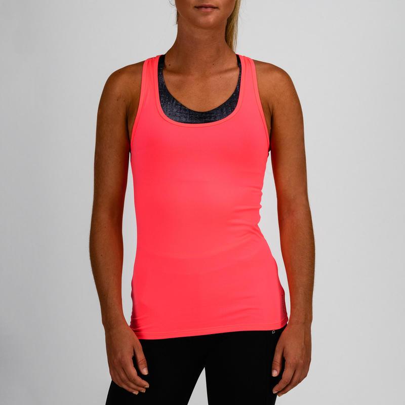 Camiseta sin mangas cardio fitness mujer rosa 100