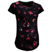 Črna ženska majica s kratkimi rokavi 500 s potiskom