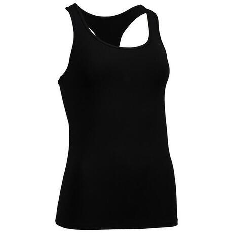 fa337b7b80dae Débardeur fitness cardio training femme noir 100