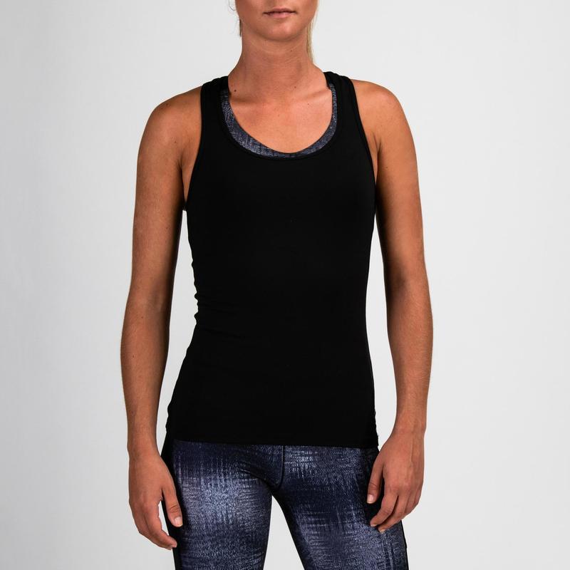Mujer Ropa Sin Mytop De 100 Domyos Negro Mangas Camiseta Fitness Cardio n80mNw