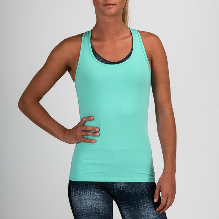 Camiseta sin mangas cardio fitness mujer azul turquesa 100