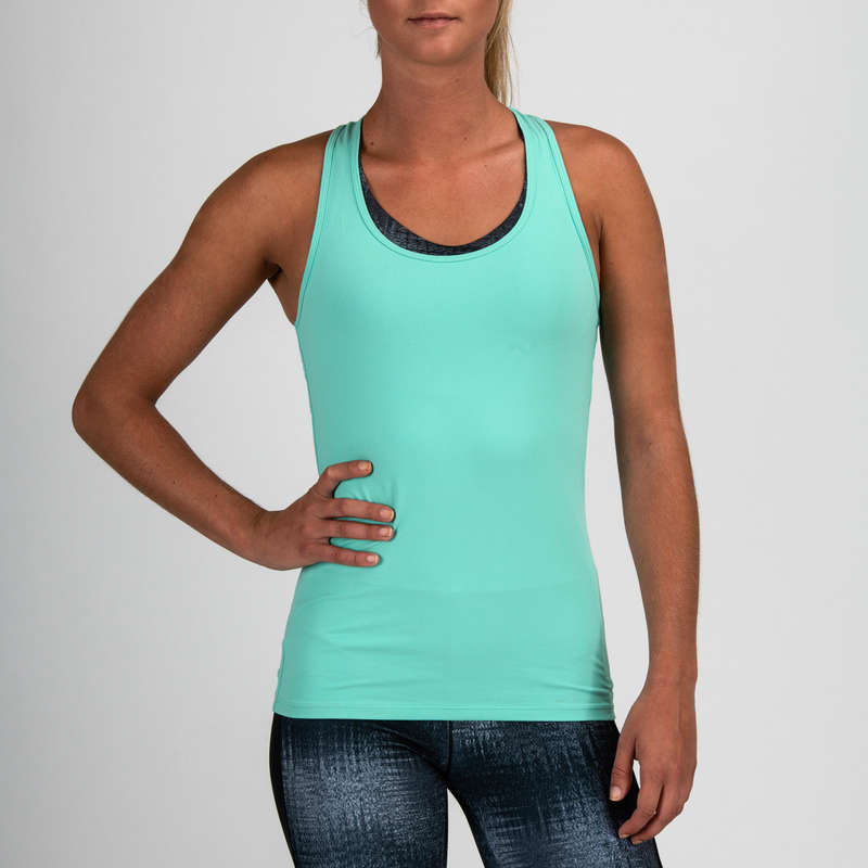Dámske oblečenie na kardiotréning CROSS TRÉNING - DÁMSKE TIELKO MY TOP 100 MODRÉ DOMYOS - OBLEČENIE NA CROSS TRÉNING