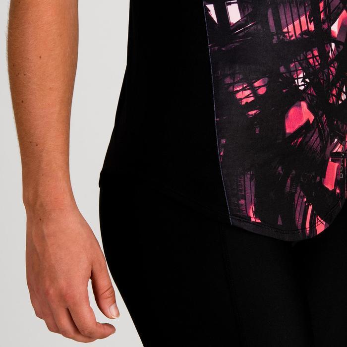 Camiseta cardio fitness mujer negro estampado 500