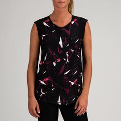 Fitness shirt 500 voor dames, zwart met print