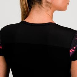 Fitness shirt 500 voor dames, zwart/roze
