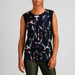 T-shirt fitness cardiotraining dames 500 marineblauw met print