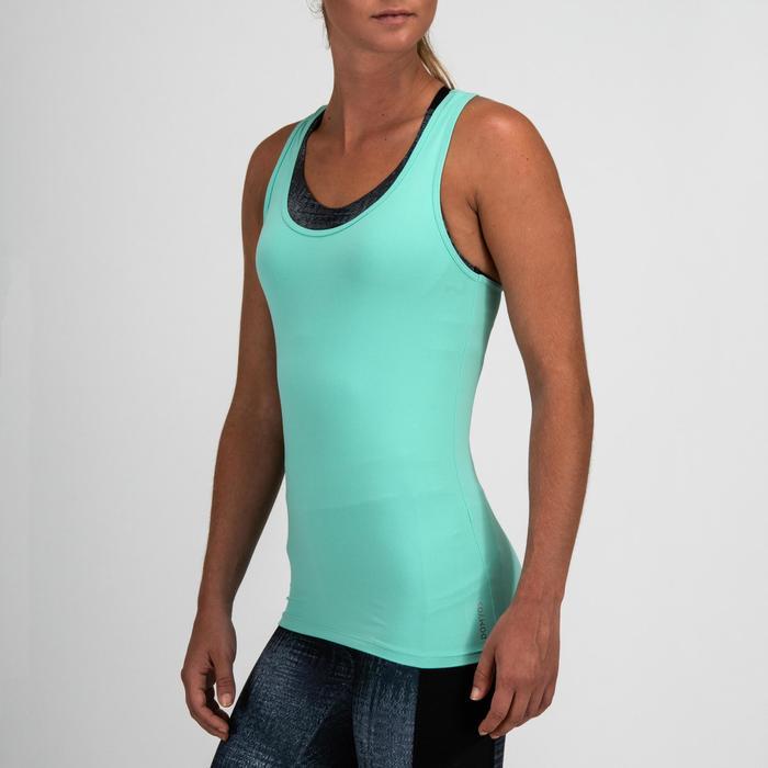 Débardeur cardio fitness femme bleu turquoise 100