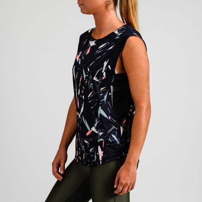 T-shirt cardio fitness femme bleu marine imprimé 500