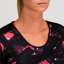 T-Shirt FTS 500 schwarz Cardio Fitness Damen schwarz mit Print