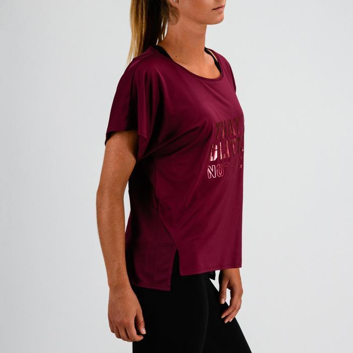 T-Shirt FTS 120 Fitness Cardio Damen bordeauxrot mit Print