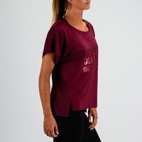 T-shirt entraînement cardio femme bordeaux imprimé 120