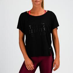 Camiseta Manga Corta Deportiva Fitness Cardio Domyos 120 Mujer Negro