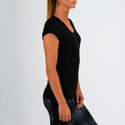 Camiseta Manga Corta Deportiva Fitness Cardio Domyos 100 Mujer Negro