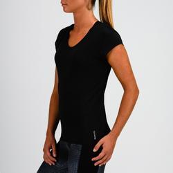 Fitness shirt 100 voor dames, zwart