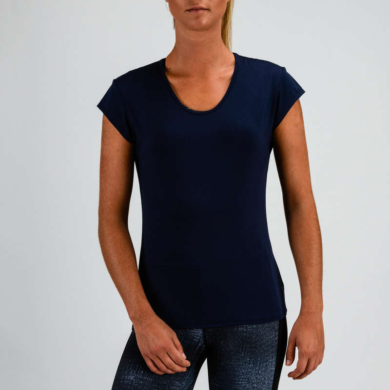 WOMAN FITNESS ENERGY APPAREL Clothing - FTS 100 T-Shirt - Navy Blue DOMYOS - Tops