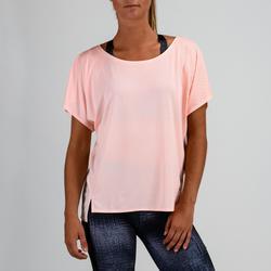 Camiseta Manga Corta Deportiva Fitness Cardio Domyos 120 Mujer Rosa Pastel