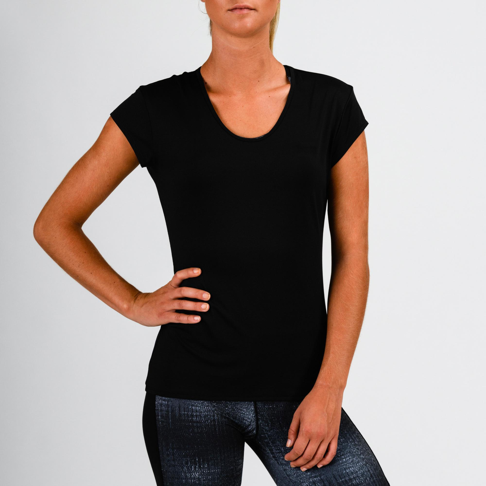 539070b0f3 Camiseta Manga Corta Deportiva Fitness Cardio Domyos 100 Mujer Negro Domyos  | Decathlon