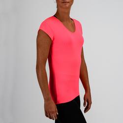 100 Women's Cardio Fitness T-Shirt - Neon Pink