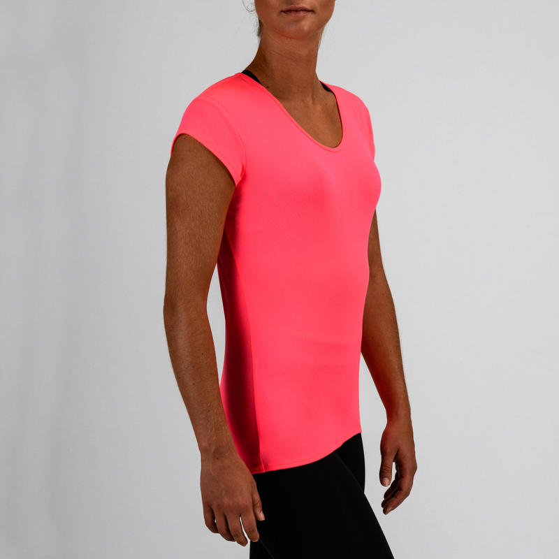 T-shirt cardio fitness femme rose fluo 100