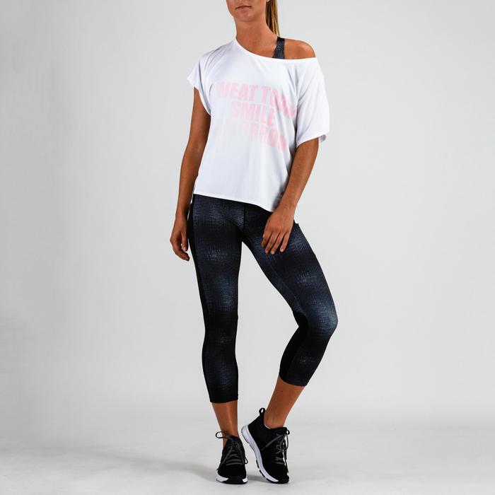 T-shirt cardio fitness femme blanc imprimé 120