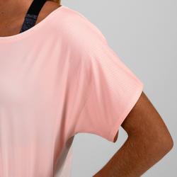 T-Shirt FTS 120 Fitness Damen hellrosa/dünne Streifen