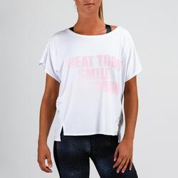 Camiseta Manga Corta Deportiva Fitness Cardio Domyos 120 Mujer Blanco