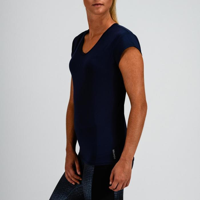 T-shirt 100 voor cardiofitness dames marineblauw