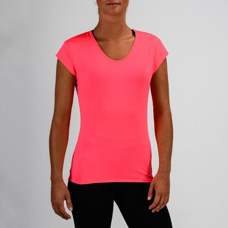 t shirt cardio fitness femme rose fluo 100 domyos by. Black Bedroom Furniture Sets. Home Design Ideas